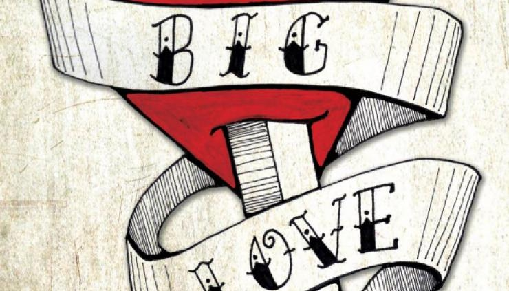 Web image from Big Love Play Poster. Tatoo lettering on a script