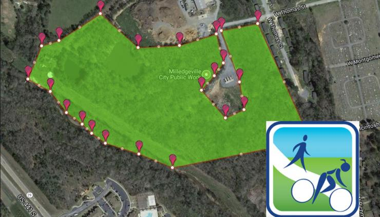 Map of proposed multi-use trails on Milledgeville's Westside.