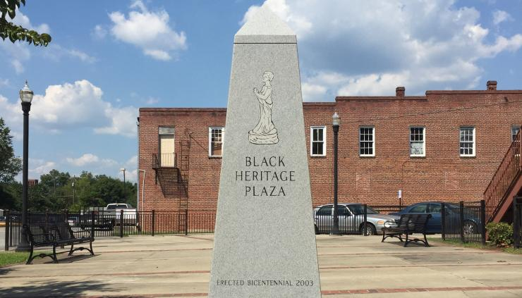 Monument marking Black Heritage Plaza in downtown Milledgeville