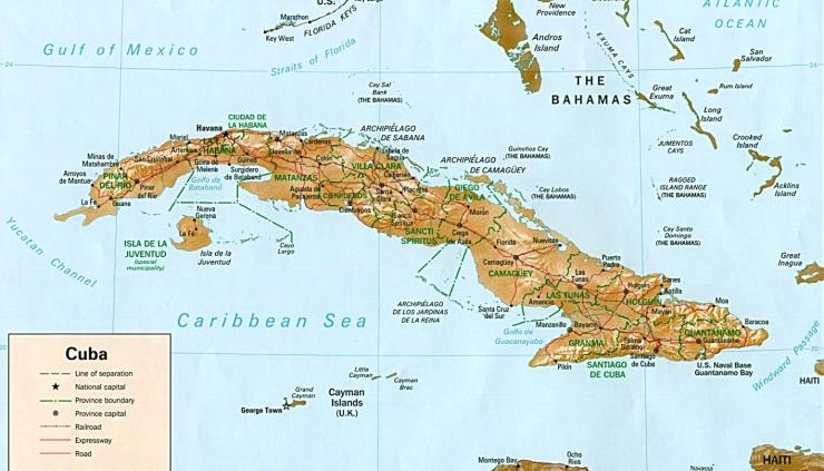 A map of Cuba, with just a little bit of Florida showing in the north