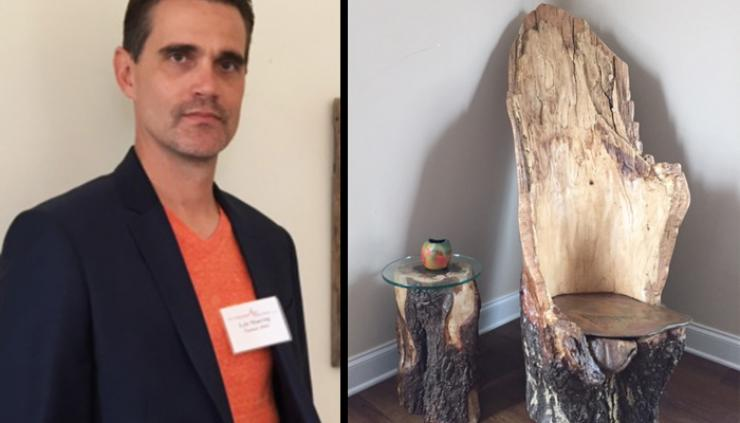 Multimedia Artist Lyle Manring on the left and an inlaid image of the handmade chair that inspried him to begin crafting furniture.