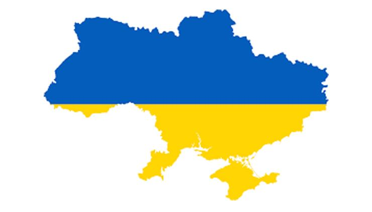 Outline of a map of the Ukraine filled in with the Blue over Yellow of the Ukrainian flag.