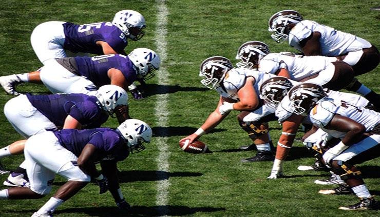 Northwestern University players line up