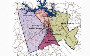 Baldwin County Elementary School Attendance Districts. This is the current map showing the boundaries for each of Baldwin County's four elementary schools. This map will change, regardless of which redistricting plan the Baldwin County School Board adopts following the recommendation tendered from Superintendent Dr. Noris Price in February.
