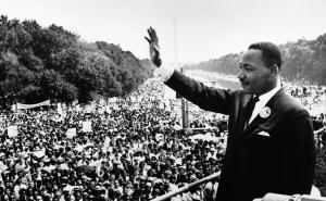 Martin Luther King Jr. prepares to address the crowd at the March on Washington