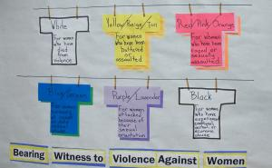 The meaning behind the color of the T-shirts used in the Clothesline Project