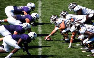 Northwestern University players line up