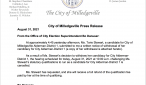 City of Milledgeville Press Release about Candidacty Withdrawal by Torie Stewart