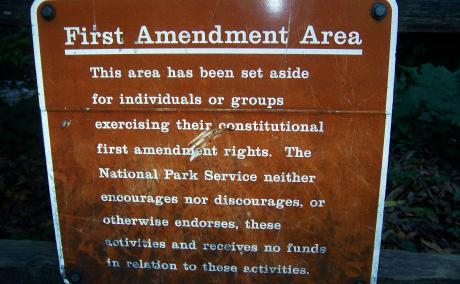 Sign designating a First Amendment Area in the Muir Woods of California