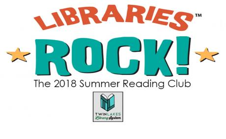 Libraries Rock Summer Reading Club Logo with small Twin Lakes Library System Logo at bottom.